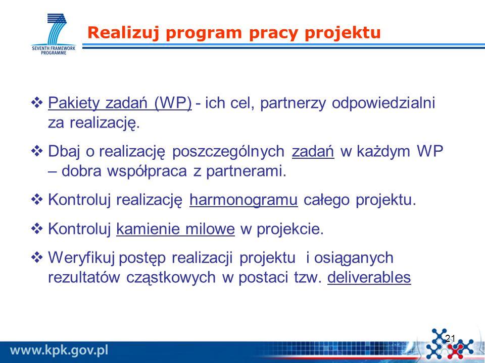 21 Realizuj program pracy projektu Pakiety zadań (WP) - ich cel, partnerzy odpowiedzialni za realizację. Dbaj o realizację poszczególnych zadań w każd