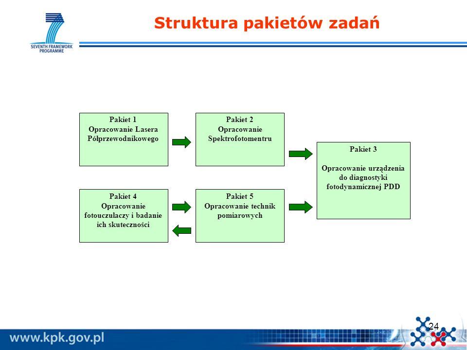 24 Struktura pakietów zadań Pakiet 1 Opracowanie Lasera Półprzewodnikowego Pakiet 2 Opracowanie Spektrofotomentru Pakiet 3 Opracowanie urządzenia do d