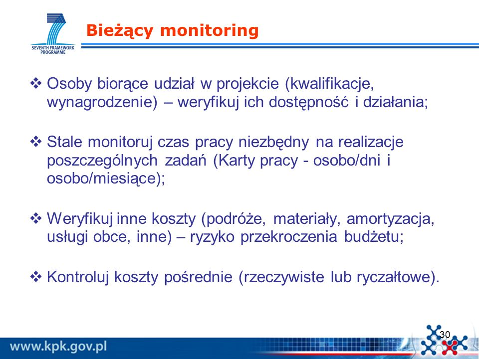 30 Bieżący monitoring Osoby biorące udział w projekcie (kwalifikacje, wynagrodzenie) – weryfikuj ich dostępność i działania; Stale monitoruj czas prac