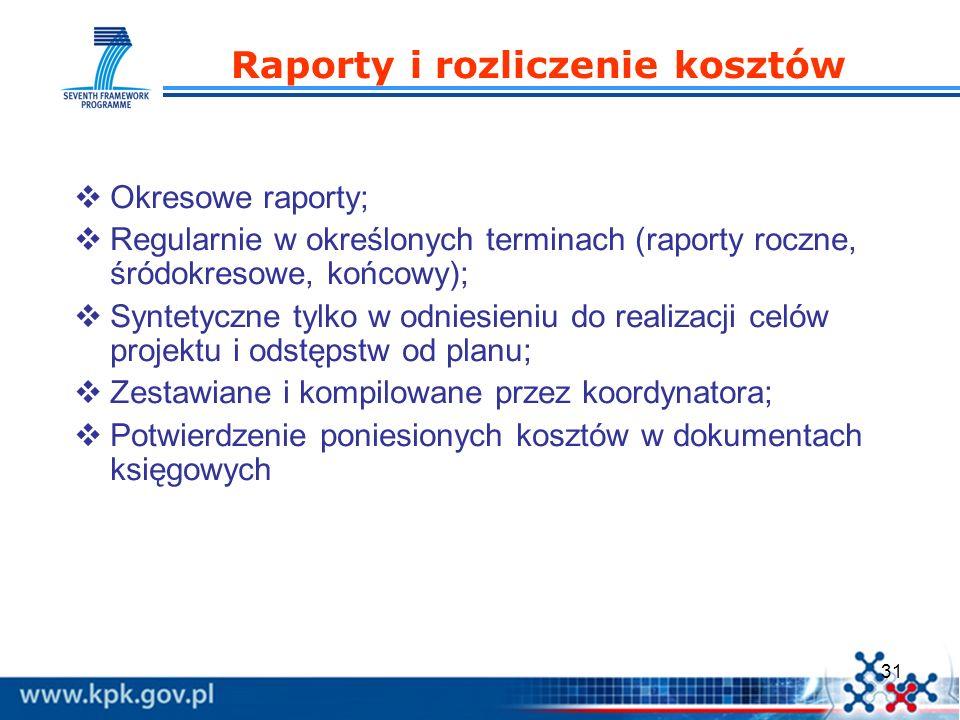 31 Raporty i rozliczenie kosztów Okresowe raporty; Regularnie w określonych terminach (raporty roczne, śródokresowe, końcowy); Syntetyczne tylko w odn