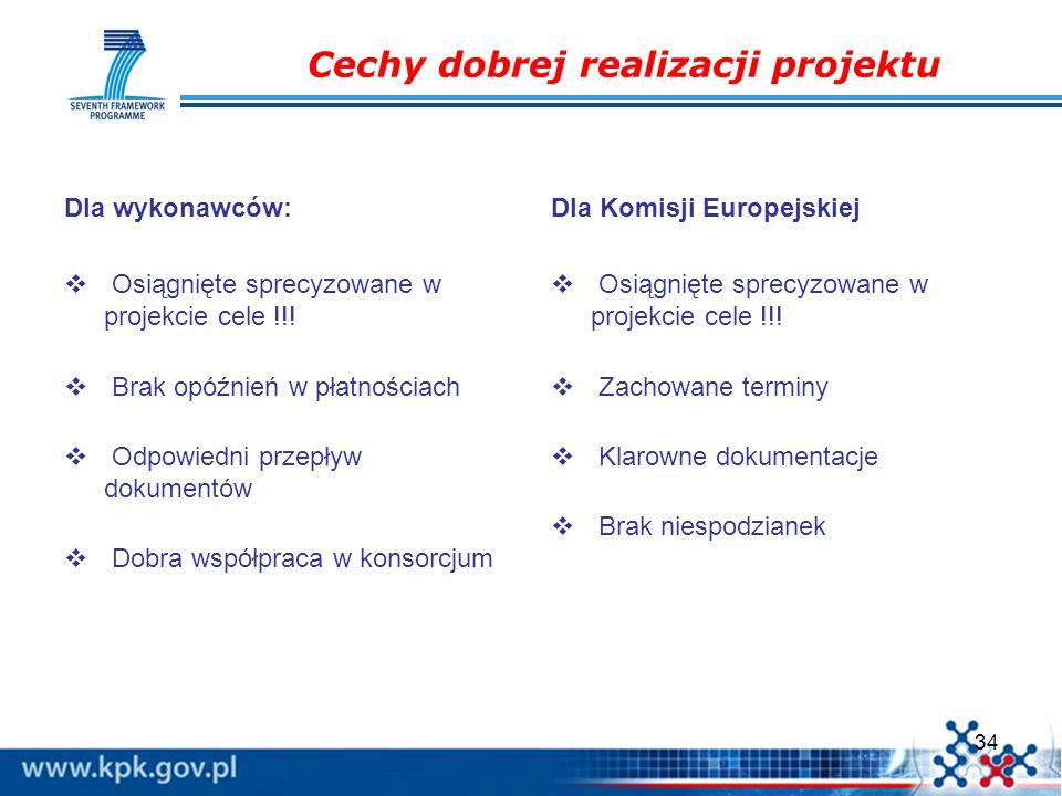 34 Cechy dobrej realizacji projektu Dla wykonawców: Osiągnięte sprecyzowane w projekcie cele !!! Brak opóźnień w płatnościach Odpowiedni przepływ doku