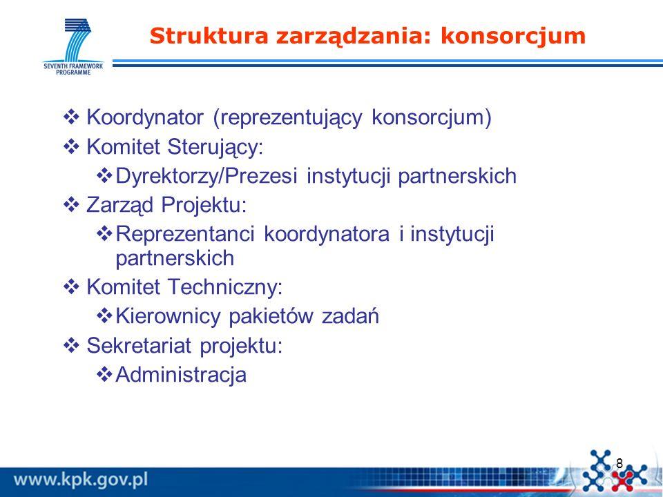 8 Struktura zarządzania: konsorcjum Koordynator (reprezentujący konsorcjum) Komitet Sterujący: Dyrektorzy/Prezesi instytucji partnerskich Zarząd Proje