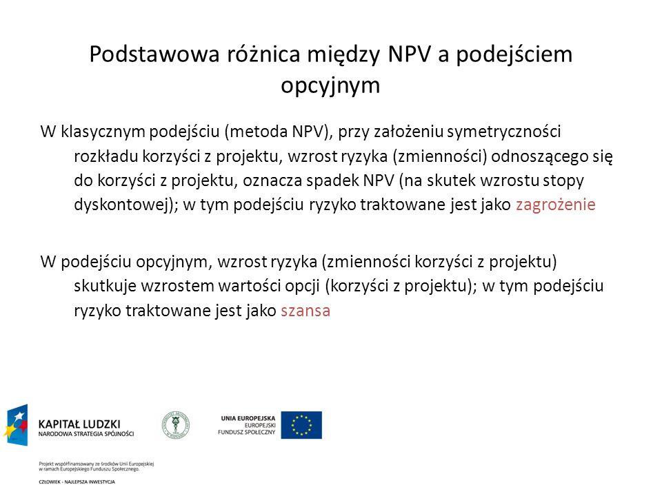 Podstawowa różnica między NPV a podejściem opcyjnym W klasycznym podejściu (metoda NPV), przy założeniu symetryczności rozkładu korzyści z projektu, w