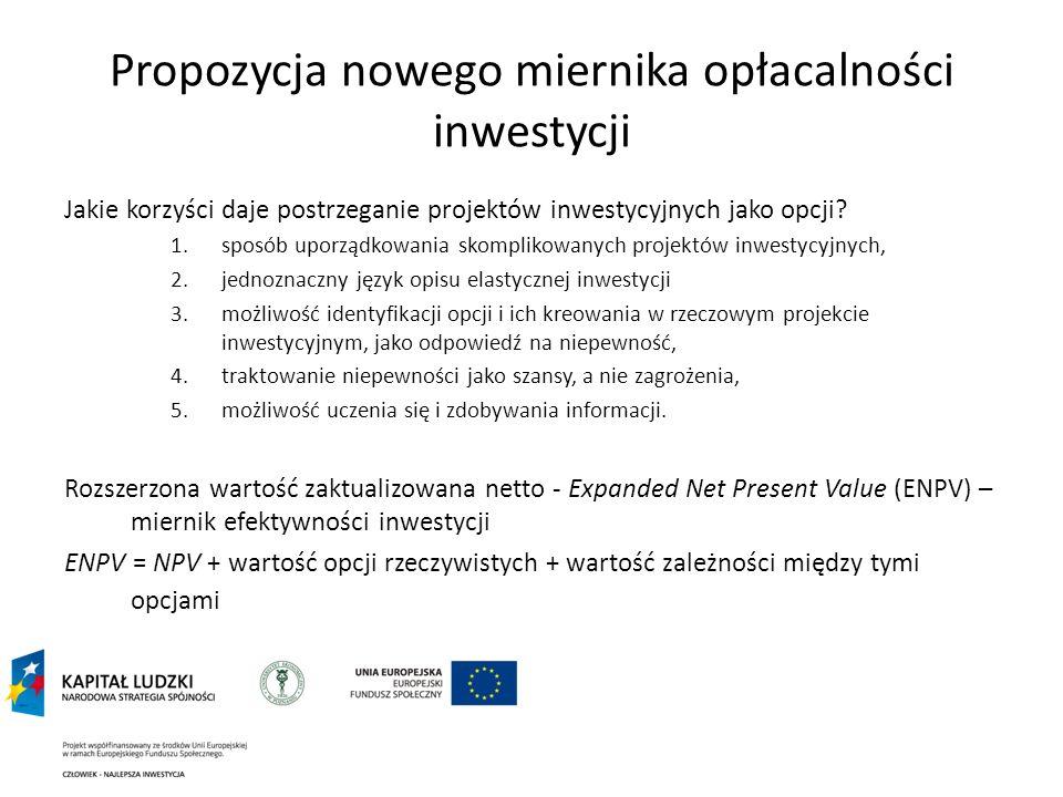 Propozycja nowego miernika opłacalności inwestycji Jakie korzyści daje postrzeganie projektów inwestycyjnych jako opcji? 1.sposób uporządkowania skomp