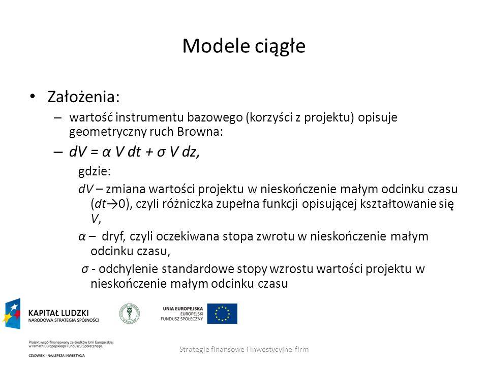 Strategie finansowe i inwestycyjne firm Modele ciągłe Założenia: – wartość instrumentu bazowego (korzyści z projektu) opisuje geometryczny ruch Browna