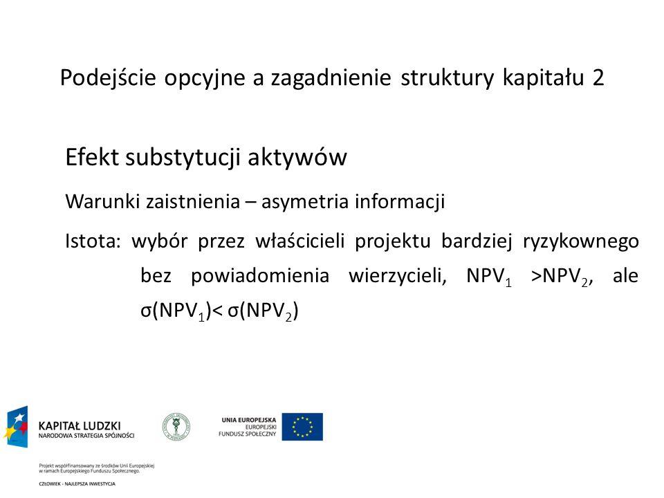 Podejście opcyjne a zagadnienie struktury kapitału 2 Efekt substytucji aktywów Warunki zaistnienia – asymetria informacji Istota: wybór przez właścici