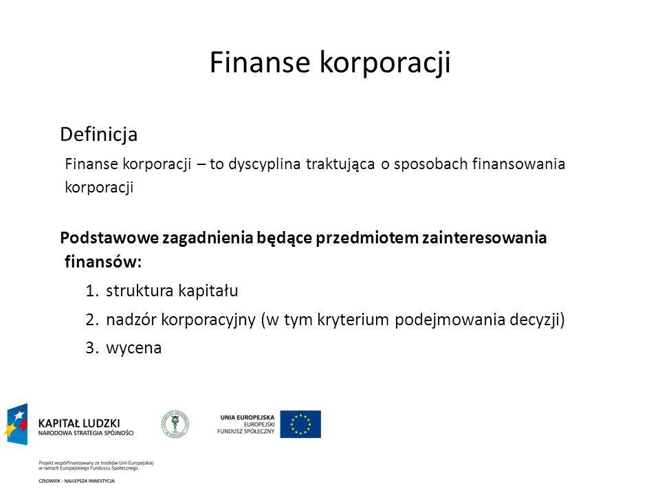 Finanse korporacji Definicja Finanse korporacji – to dyscyplina traktująca o sposobach finansowania korporacji Podstawowe zagadnienia będące przedmiot