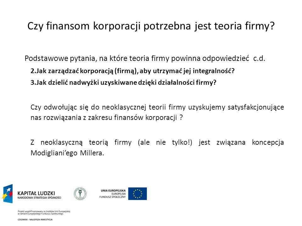 Czy finansom korporacji potrzebna jest teoria firmy? Podstawowe pytania, na które teoria firmy powinna odpowiedzieć c.d. 2.Jak zarządzać korporacją (f
