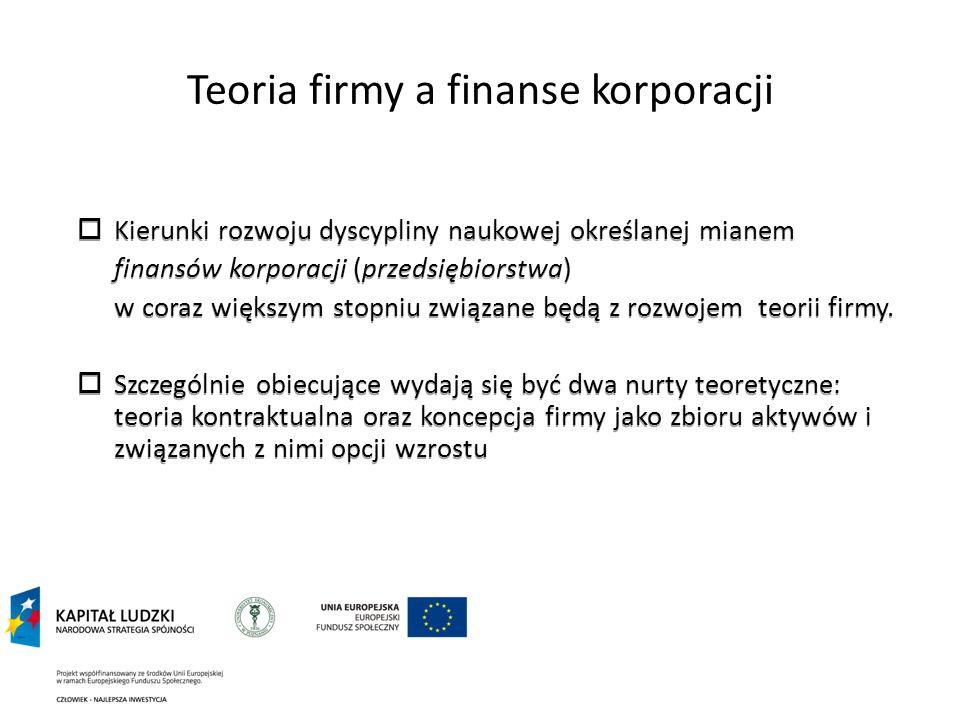 Teoria firmy a finanse korporacji Kierunki rozwoju dyscypliny naukowej określanej mianem finansów korporacji (przedsiębiorstwa) w coraz większym stopn