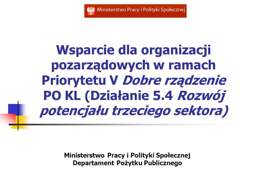 Wsparcie dla organizacji pozarządowych w ramach Priorytetu V Dobre rządzenie PO KL (Działanie 5.4 Rozwój potencjału trzeciego sektora) Ministerstwo Pr