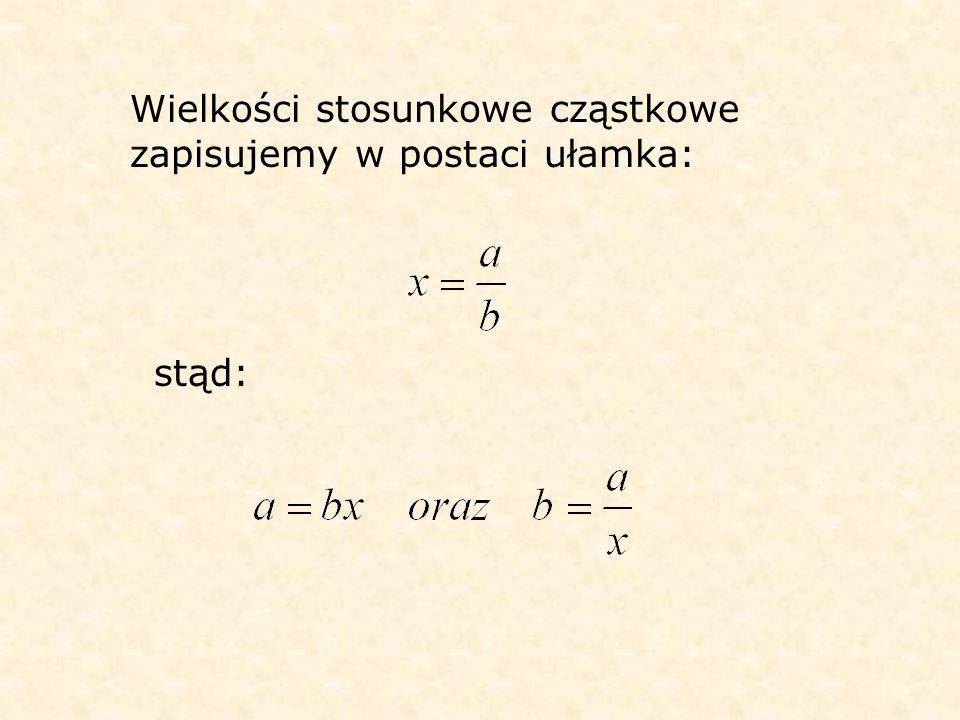 Wielkości stosunkowe cząstkowe zapisujemy w postaci ułamka: stąd: