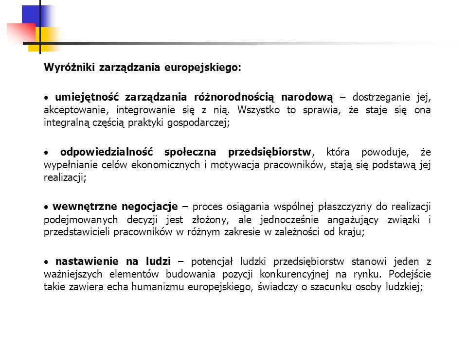 Wyróżniki zarządzania europejskiego: umiejętność zarządzania różnorodnością narodową – dostrzeganie jej, akceptowanie, integrowanie się z nią. Wszystk