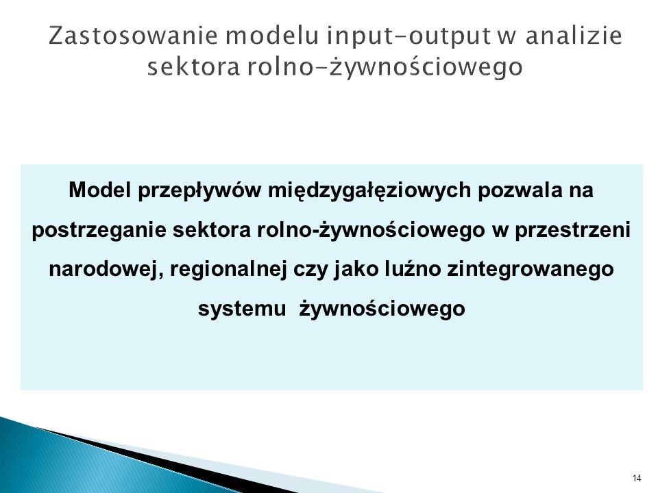 14 Model przepływów międzygałęziowych pozwala na postrzeganie sektora rolno-żywnościowego w przestrzeni narodowej, regionalnej czy jako luźno zintegro