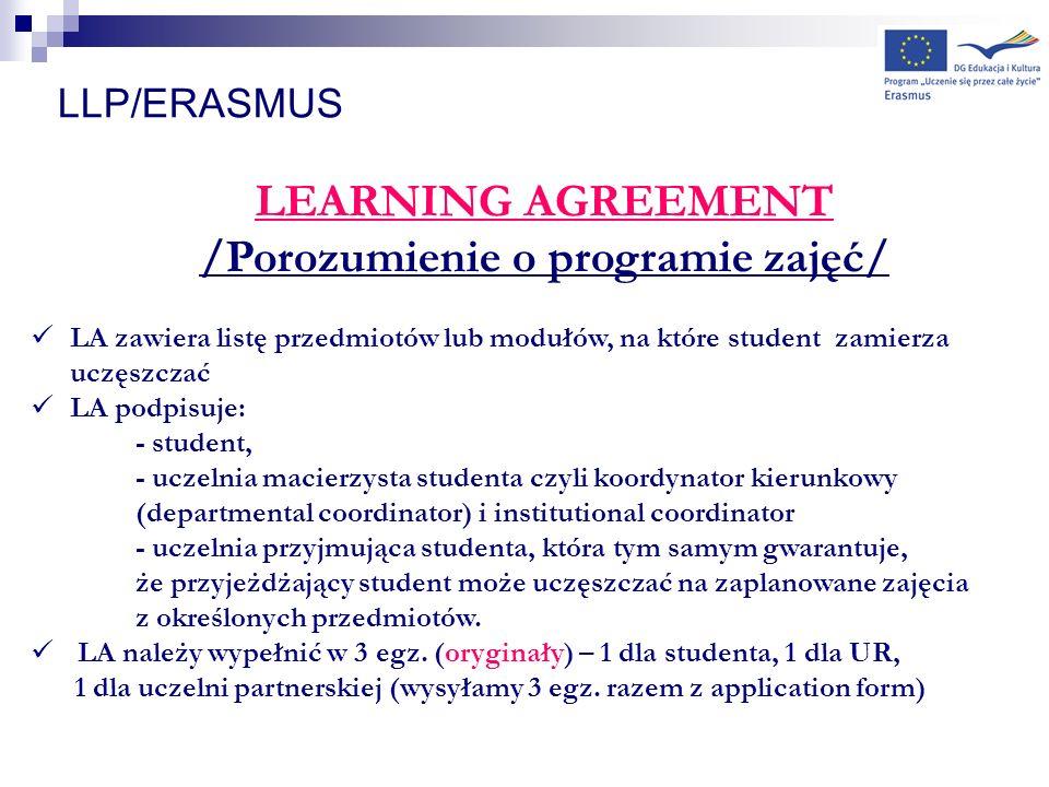 LLP/ERASMUS LEARNING AGREEMENT /Porozumienie o programie zajęć/ LA zawiera listę przedmiotów lub modułów, na które student zamierza uczęszczać LA podp