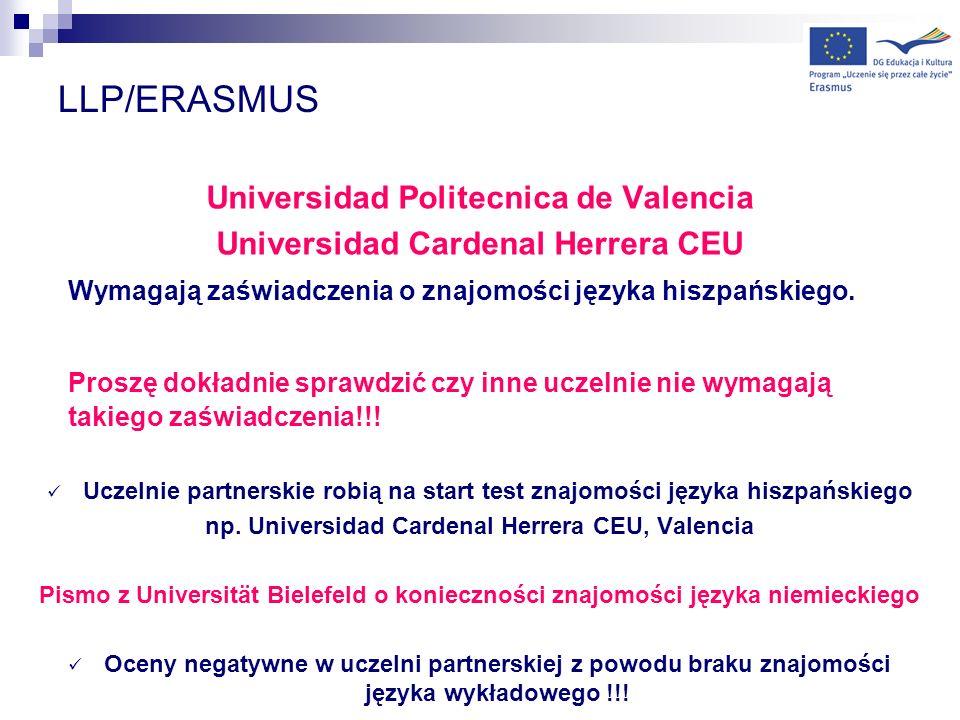 LLP/ERASMUS Universidad Politecnica de Valencia Universidad Cardenal Herrera CEU Wymagają zaświadczenia o znajomości języka hiszpańskiego. Proszę dokł