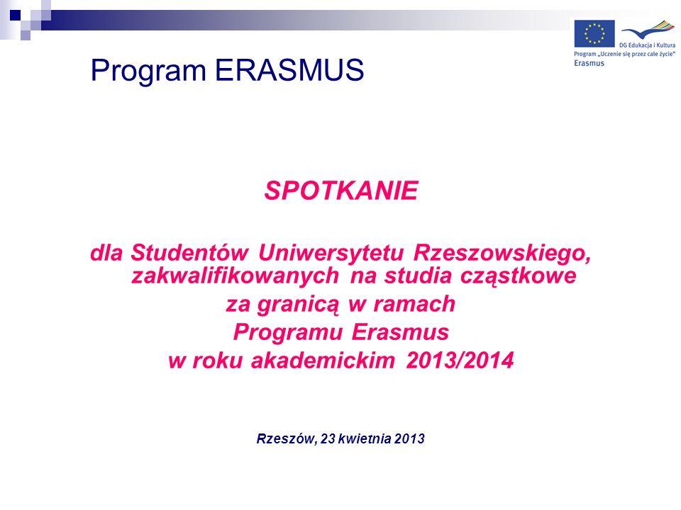 Program ERASMUS SPOTKANIE dla Studentów Uniwersytetu Rzeszowskiego, zakwalifikowanych na studia cząstkowe za granicą w ramach Programu Erasmus w roku