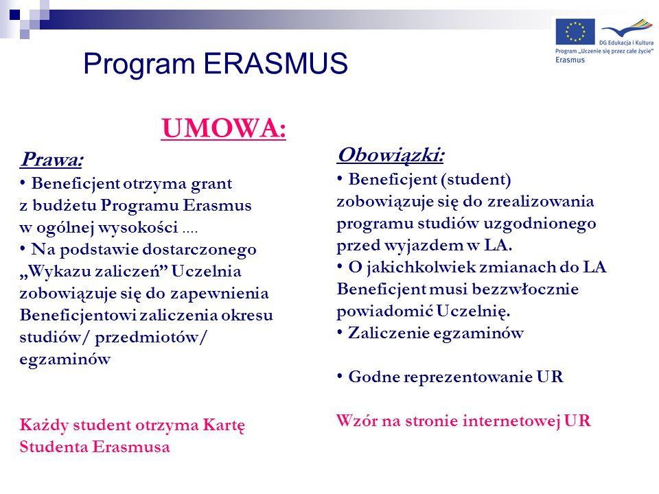 Program ERASMUS UMOWA: Prawa: Beneficjent otrzyma grant z budżetu Programu Erasmus w ogólnej wysokości.... Na podstawie dostarczonego Wykazu zaliczeń