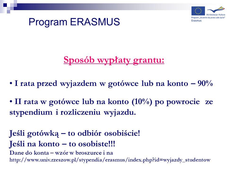 Program ERASMUS Sposób wypłaty grantu: I rata przed wyjazdem w gotówce lub na konto – 90% II rata w gotówce lub na konto (10%) po powrocie ze stypendi