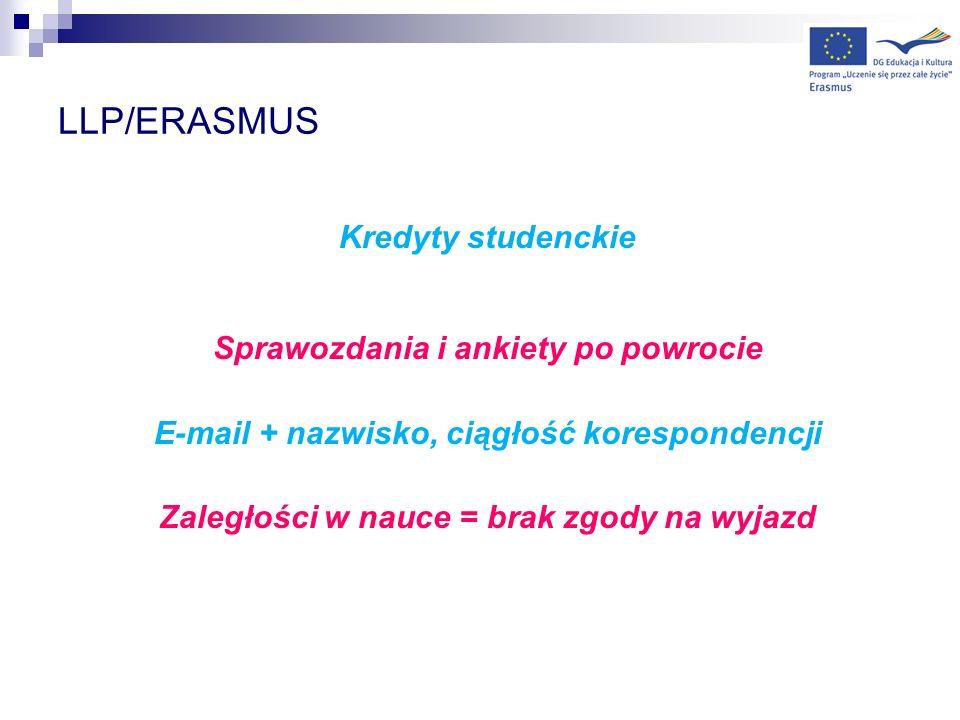 LLP/ERASMUS Kredyty studenckie Sprawozdania i ankiety po powrocie E-mail + nazwisko, ciągłość korespondencji Zaległości w nauce = brak zgody na wyjazd