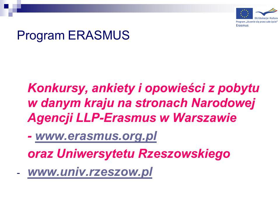 Program ERASMUS Konkursy, ankiety i opowieści z pobytu w danym kraju na stronach Narodowej Agencji LLP-Erasmus w Warszawie - www.erasmus.org.plwww.era