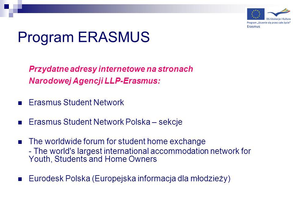 Program ERASMUS Przydatne adresy internetowe na stronach Narodowej Agencji LLP-Erasmus: Erasmus Student Network Erasmus Student Network Polska – sekcj