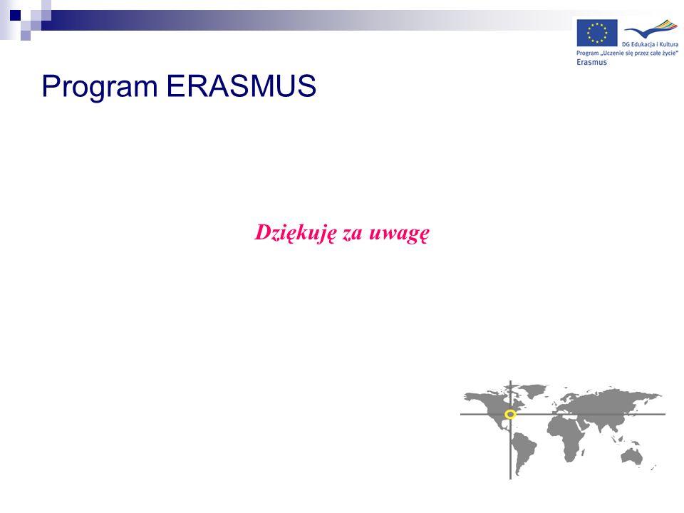 Program ERASMUS Dziękuję za uwagę