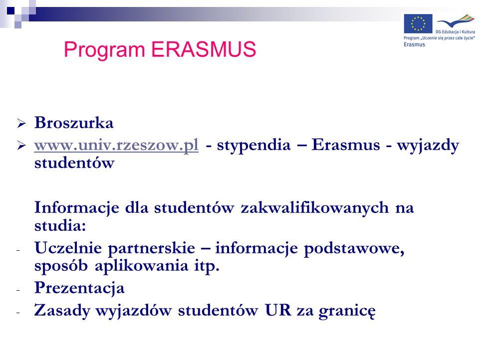 LLP/ERASMUS Przypuszczalna wysokość grantu (stypendium): NORWEGIA, FINLANDIA, ISLANDIA, DANIA- 520 Euro/m-c WLK BRYTANIA, BELGIA, HOLANDIA, NIEMCY, HISZPANIA, PORTUGALIA, WŁOCHY – 380 Euro/m-c BUŁGARIA, CZECHY, CYPR, ESTONIA, GRECJA, ŁOTWA, RUMUNIA, WĘGRY, SŁOWACJA, TURCJA– 280 Euro/m-c Wysokość grantu może ulec zmianie po otrzymaniu ostatecznej informacji z Agencji Narodowej Programu Erasmus w Warszawie Otrzymany grant z budżetu Programu Erasmus jest przeznaczony na pokrycie dodatkowych, a nie pełnych kosztów związanych z wyjazdem i pobytem w uczelni partnerskiej.