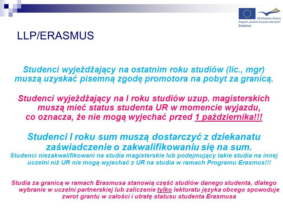 LLP/ERASMUS Studenci wyjeżdżający na ostatnim roku studiów (lic., mgr) muszą uzyskać pisemną zgodę promotora na pobyt za granicą. Studenci wyjeżdżając