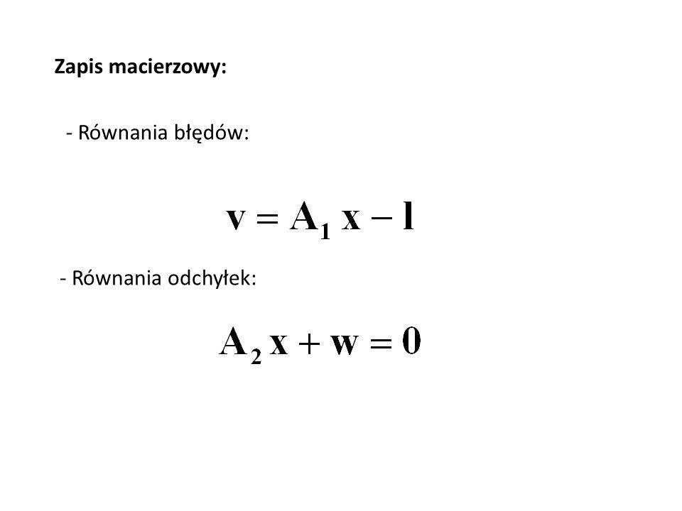 W celu zminimalizowania sumy kwadratów poprawek spostrzeżeń, wartości niewiadomych x i korelat k należy zgodnie z metodą Lagrangea wyznaczyć z następującego układu równań: Stąd otrzymujemy wzór na niewiadome x i korelaty k: