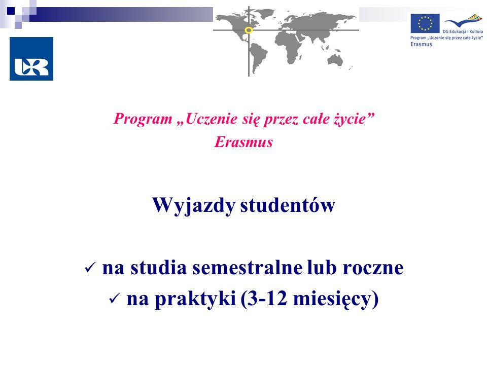 Program Uczenie się przez całe życie Erasmus Wyjazdy studentów na studia semestralne lub roczne na praktyki (3-12 miesięcy)