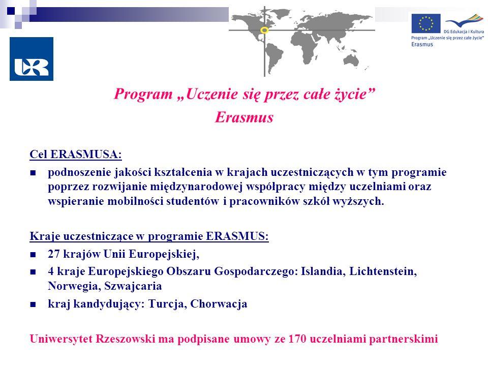 Program Uczenie się przez całe życie Erasmus Cel ERASMUSA: podnoszenie jakości kształcenia w krajach uczestniczących w tym programie poprzez rozwijani