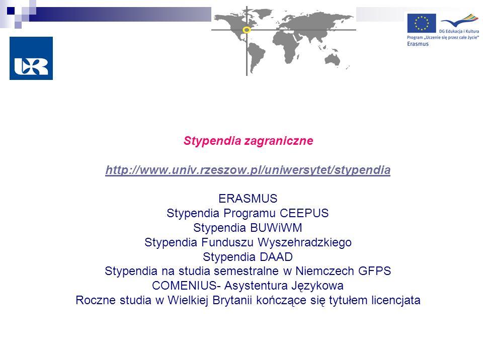 Stypendia zagraniczne http://www.univ.rzeszow.pl/uniwersytet/stypendia ERASMUS Stypendia Programu CEEPUS Stypendia BUWiWM Stypendia Funduszu Wyszehrad