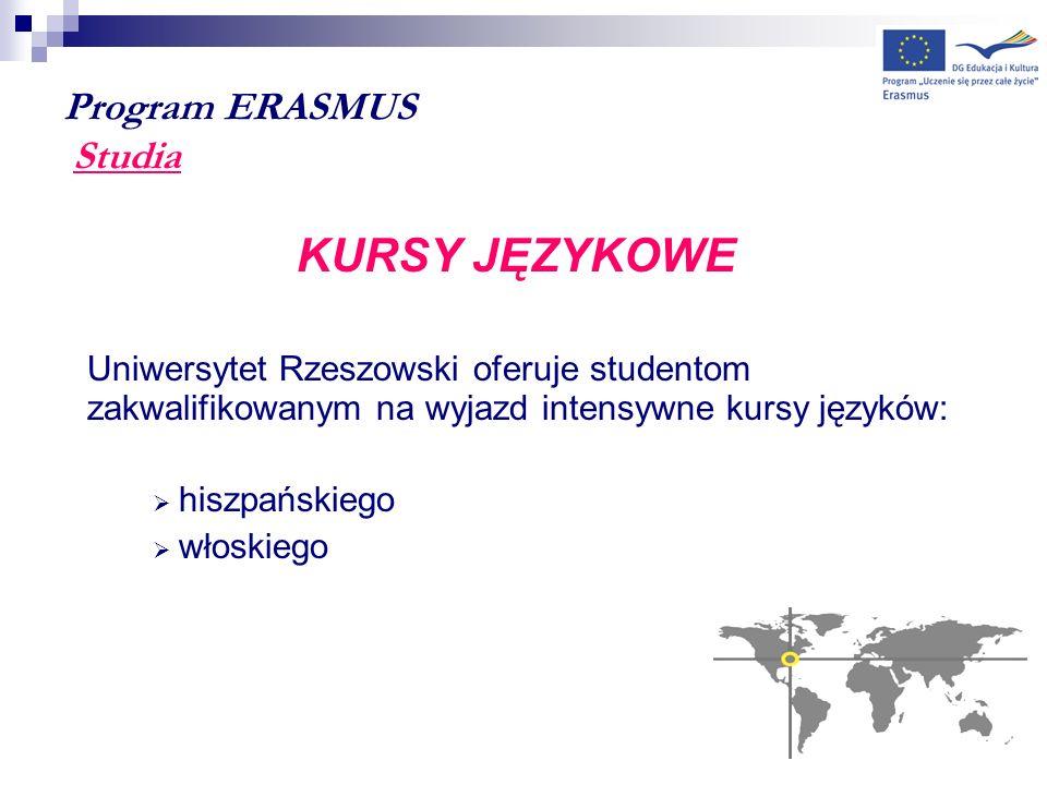 Program ERASMUS Studia KURSY JĘZYKOWE Uniwersytet Rzeszowski oferuje studentom zakwalifikowanym na wyjazd intensywne kursy języków: hiszpańskiego włos