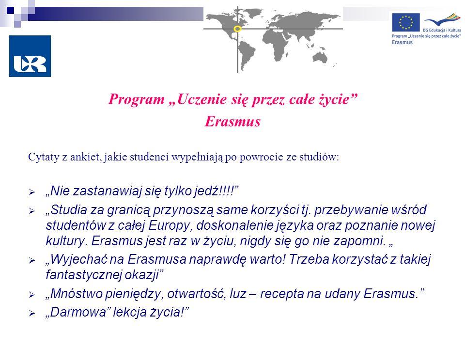 Program Uczenie się przez całe życie Erasmus Cytaty z ankiet, jakie studenci wypełniają po powrocie ze studiów: Nie zastanawiaj się tylko jedź!!!! Stu