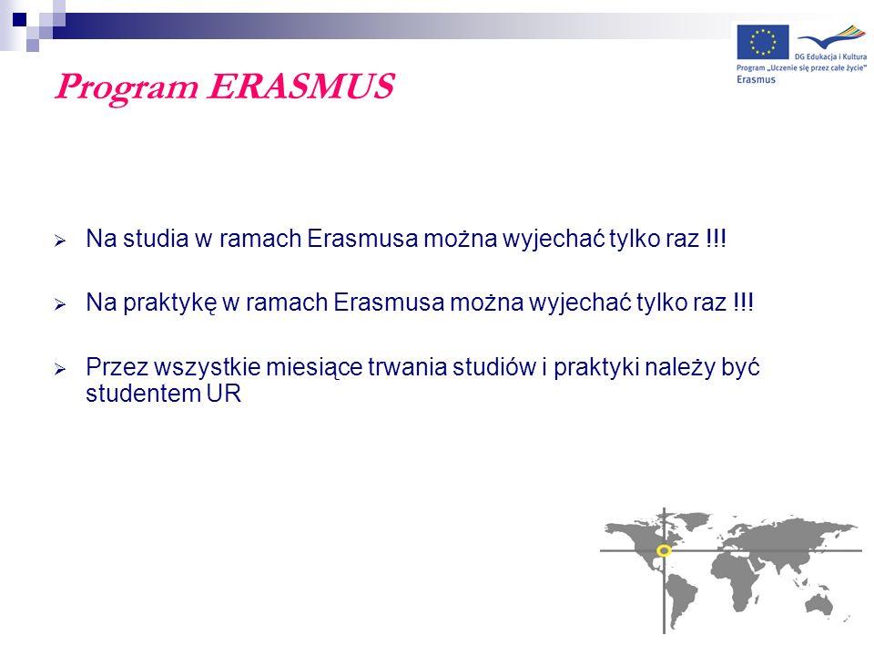 Program ERASMUS Na studia w ramach Erasmusa można wyjechać tylko raz !!! Na praktykę w ramach Erasmusa można wyjechać tylko raz !!! Przez wszystkie mi