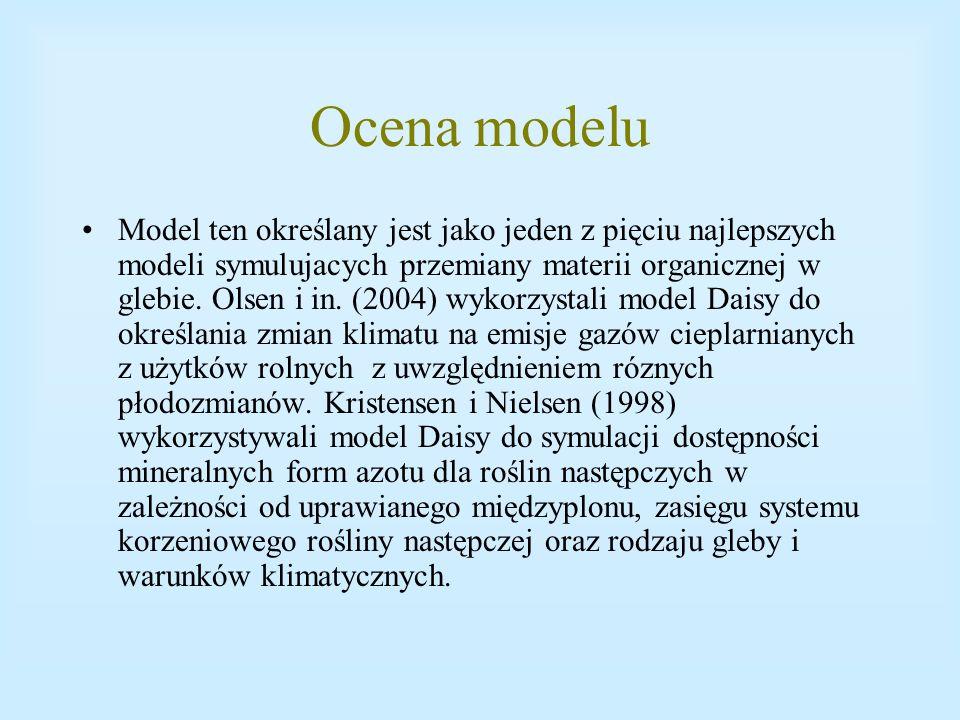 Ocena modelu Model ten określany jest jako jeden z pięciu najlepszych modeli symulujacych przemiany materii organicznej w glebie. Olsen i in. (2004) w