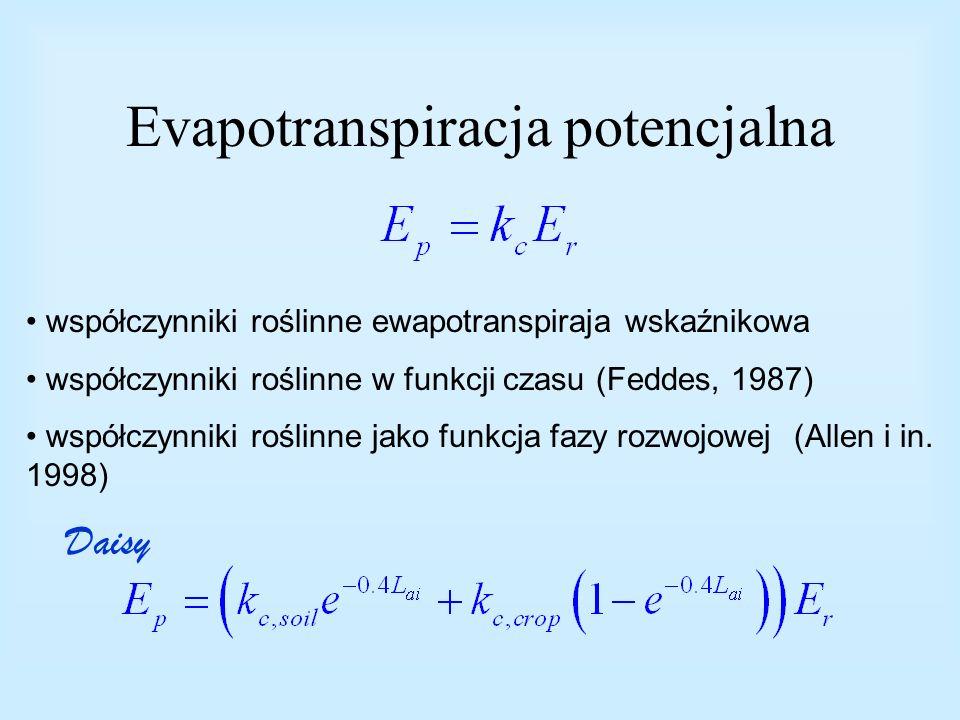 Evapotranspiracja potencjalna współczynniki roślinne ewapotranspiraja wskaźnikowa współczynniki roślinne w funkcji czasu (Feddes, 1987) współczynniki