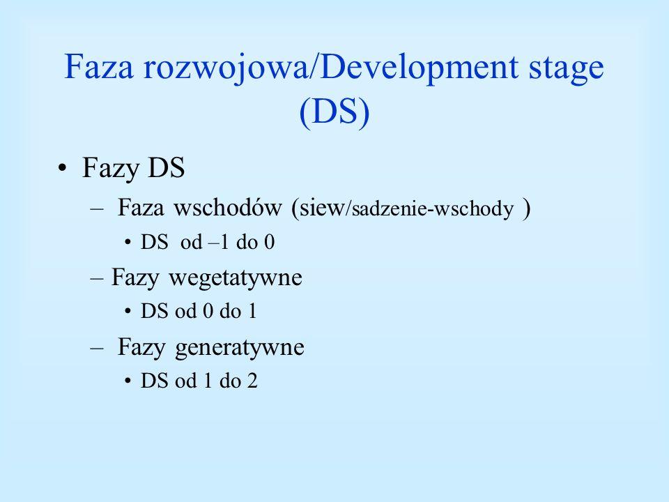 Faza rozwojowa/Development stage (DS) Fazy DS – Faza wschodów (siew /sadzenie-wschody ) DS od –1 do 0 –Fazy wegetatywne DS od 0 do 1 – Fazy generatywn