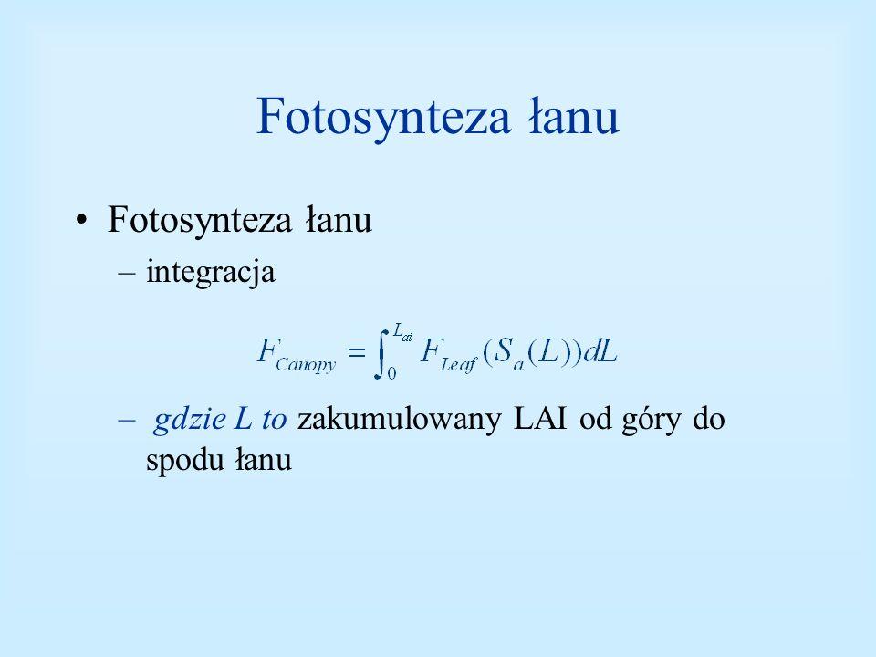 Fotosynteza łanu –integracja – gdzie L to zakumulowany LAI od góry do spodu łanu