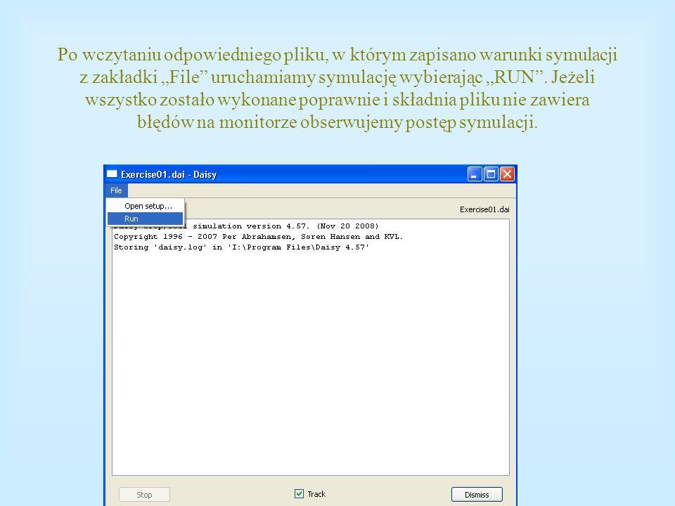 Po wczytaniu odpowiedniego pliku, w którym zapisano warunki symulacji z zakładki File uruchamiamy symulację wybierając RUN. Jeżeli wszystko zostało wy