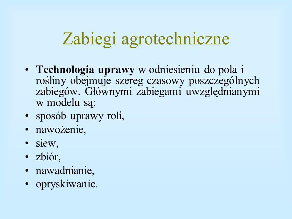 Zabiegi agrotechniczne Technologia uprawy w odniesieniu do pola i rośliny obejmuje szereg czasowy poszczególnych zabiegów. Głównymi zabiegami uwzględn