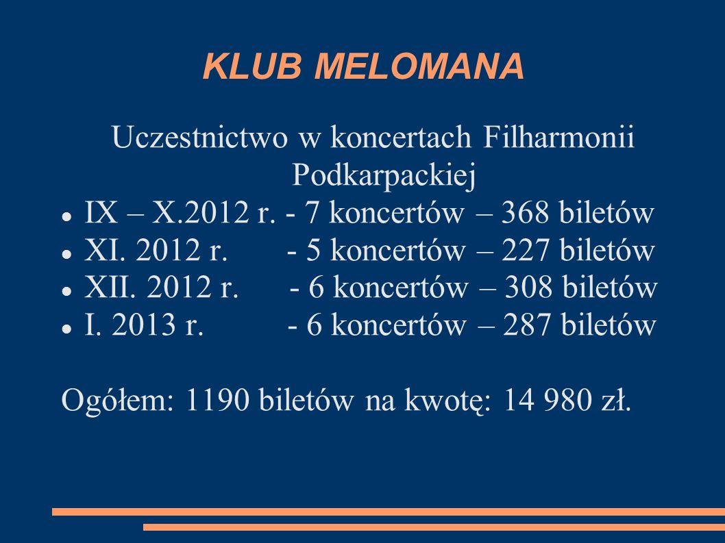 KLUB MELOMANA Uczestnictwo w koncertach Filharmonii Podkarpackiej IX – X.2012 r. - 7 koncertów – 368 biletów XI. 2012 r. - 5 koncertów – 227 biletów X
