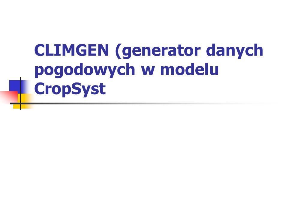 Generowanie danych pogodowych w ClimGen składa się z następujących kroków: 1.