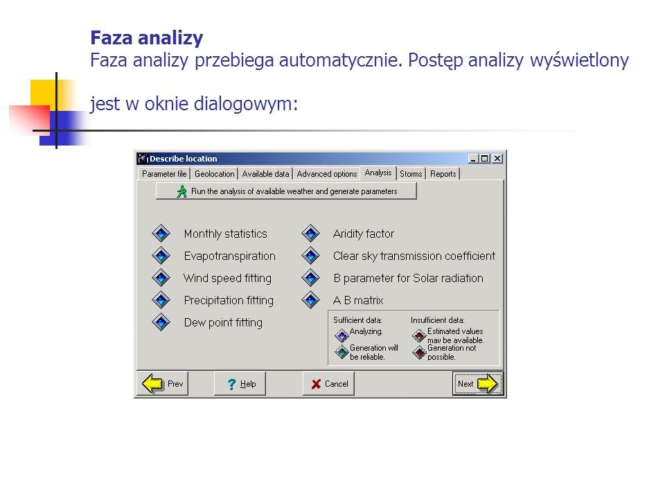 Faza analizy Faza analizy przebiega automatycznie. Postęp analizy wyświetlony jest w oknie dialogowym: