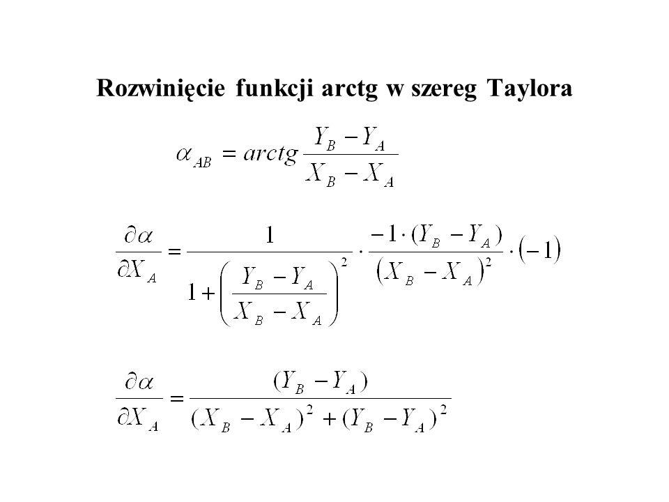 Funkcja zależności azymutu od współrzędnych A B x