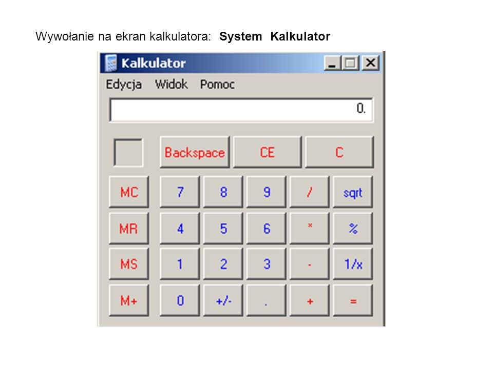 Wywołanie na ekran kalkulatora: System Kalkulator