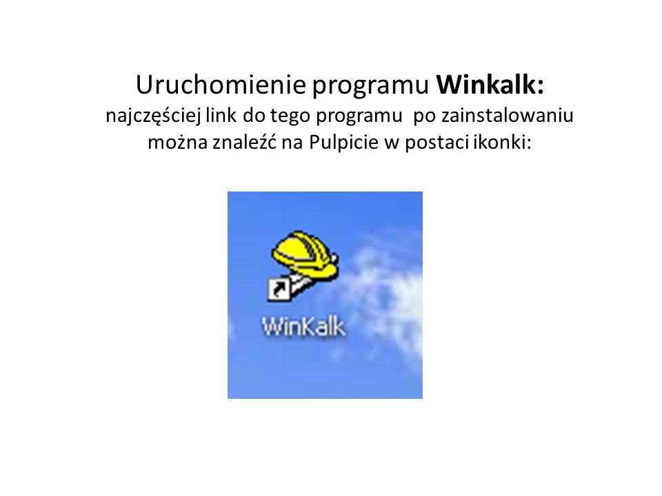 Uruchomienie programu Winkalk: najczęściej link do tego programu po zainstalowaniu można znaleźć na Pulpicie w postaci ikonki: