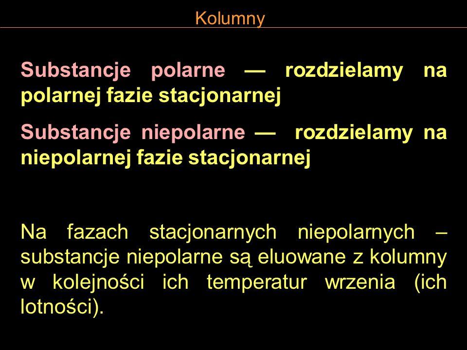 Kolumny Substancje polarne rozdzielamy na polarnej fazie stacjonarnej Substancje niepolarne rozdzielamy na niepolarnej fazie stacjonarnej Na fazach st