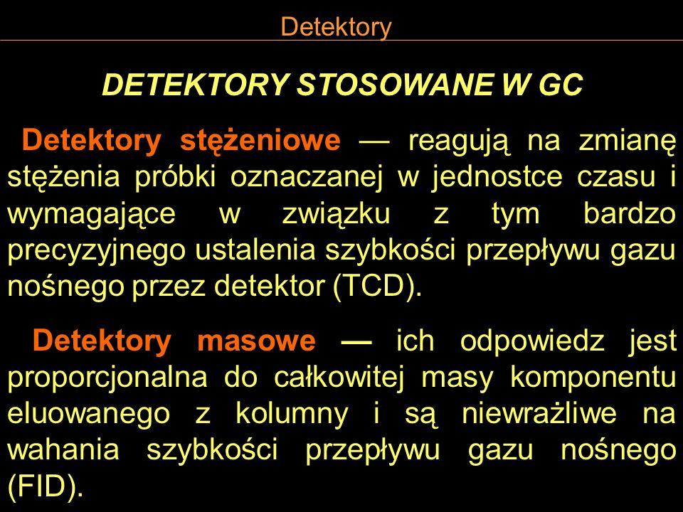 Detektory DETEKTORY STOSOWANE W GC Detektory stężeniowe reagują na zmianę stężenia próbki oznaczanej w jednostce czasu i wymagające w związku z tym ba