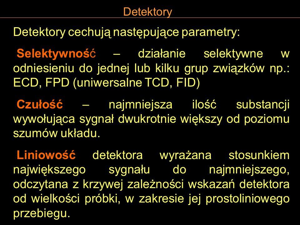 Detektory Detektory cechują następujące parametry: Selektywność – działanie selektywne w odniesieniu do jednej lub kilku grup związków np.: ECD, FPD (